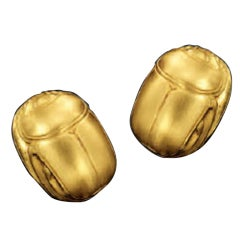 JULIUS COHEN Gold Scarab Motif Earrings