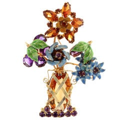 Flower Bouquet Multi-Gem and Enamel Brooch