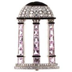 Art Deco Diamond Dome on Pink Quartz Pillars Brooch