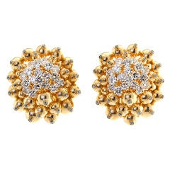 Diamond Gold Ornament Cluster Earrings