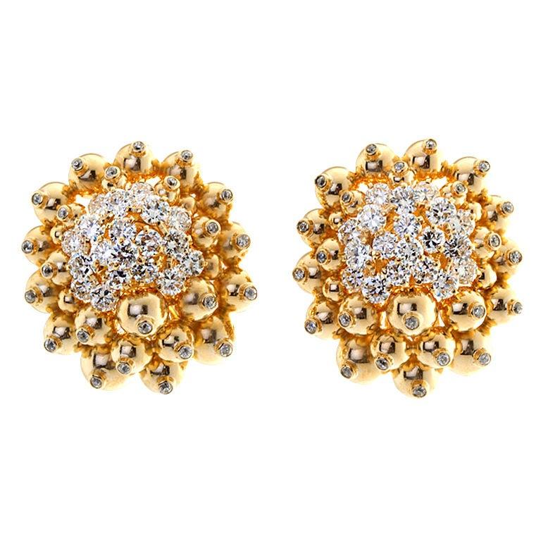 Diamond Gold Ornament Cluster Earrings