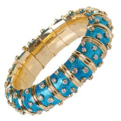 TIFFANY & Co. Schlumberger diamond and  blue enamel wide bangle