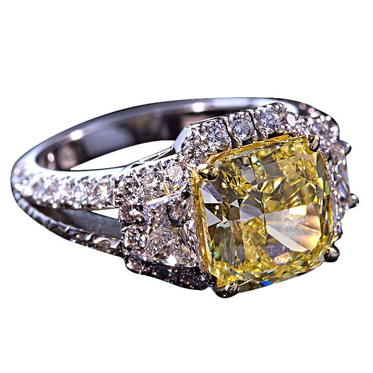 Square Fancy Yellow Diamond 4 carat engagement ring at 1stdibs