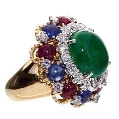Exquisite DAVID WEBB Cabochon Emerald Multi Gem Ring