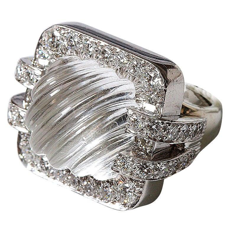 David Webb Rock Crystal Ring For Sale