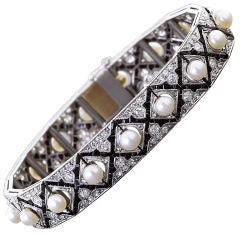 Art Deco Diamond Onyx Pearl Bracelet