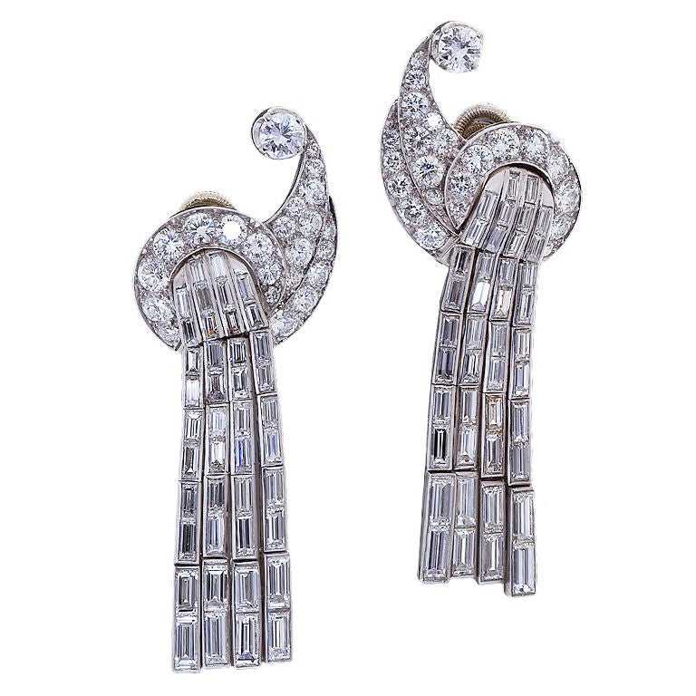 art deco scroll waterfall diamond ear clips for sale at 1stdibs. Black Bedroom Furniture Sets. Home Design Ideas