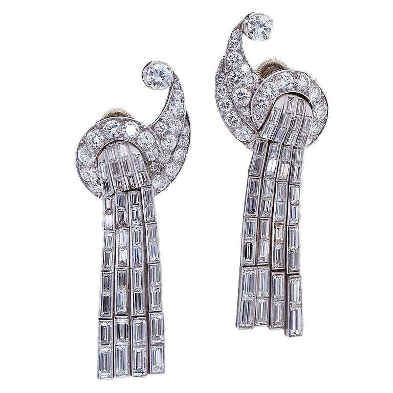 Art Deco Scroll Waterfall Diamond Ear Clips