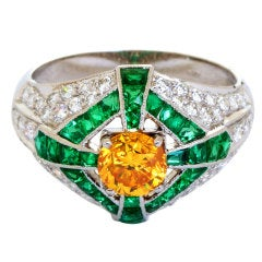 Natural Fancy Vivid Orange Yellow Diamond Dome Ring GIA Certified