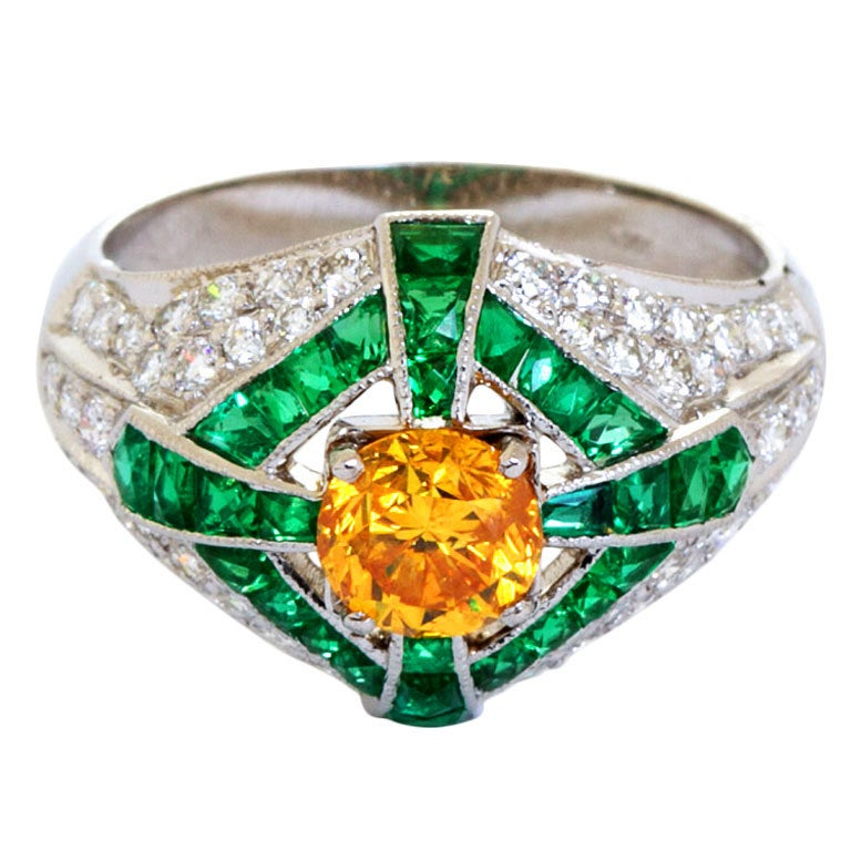Natural Fancy Vivid Orange Yellow Diamond Dome Ring GIA Certified For Sale