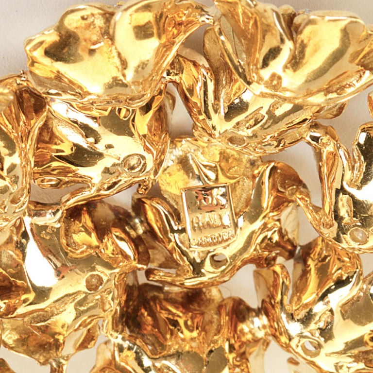 CARTIER Gold & Diamond Bombe Flower Brooch 2
