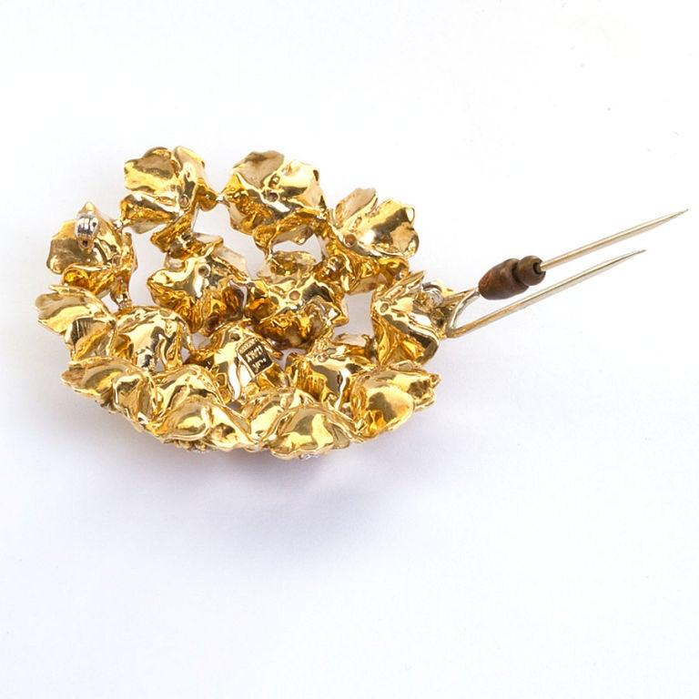 CARTIER Gold & Diamond Bombe Flower Brooch 3