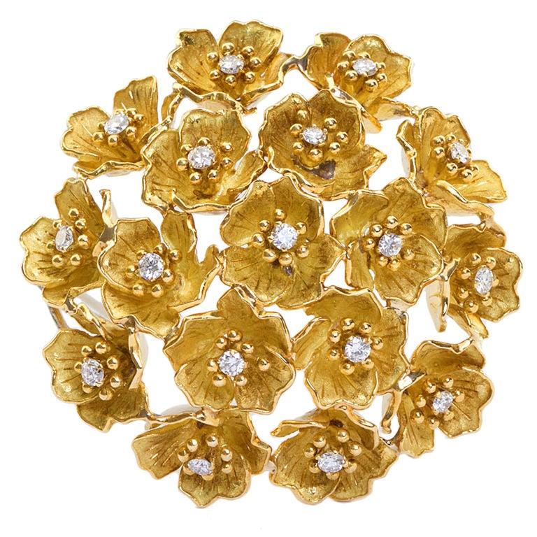 CARTIER Gold & Diamond Bombe Flower Brooch 1