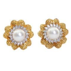 Fancy Yellow Diamond and Pearl Earrings