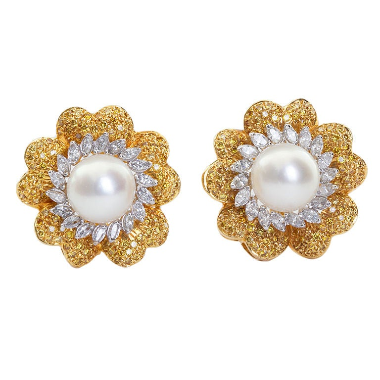 Fancy Yellow Diamond And Pearl Earrings At Stdibs