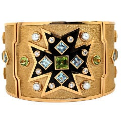 VERDURA Maltese Cross Colored Stone Diamond and Enamel Cuff