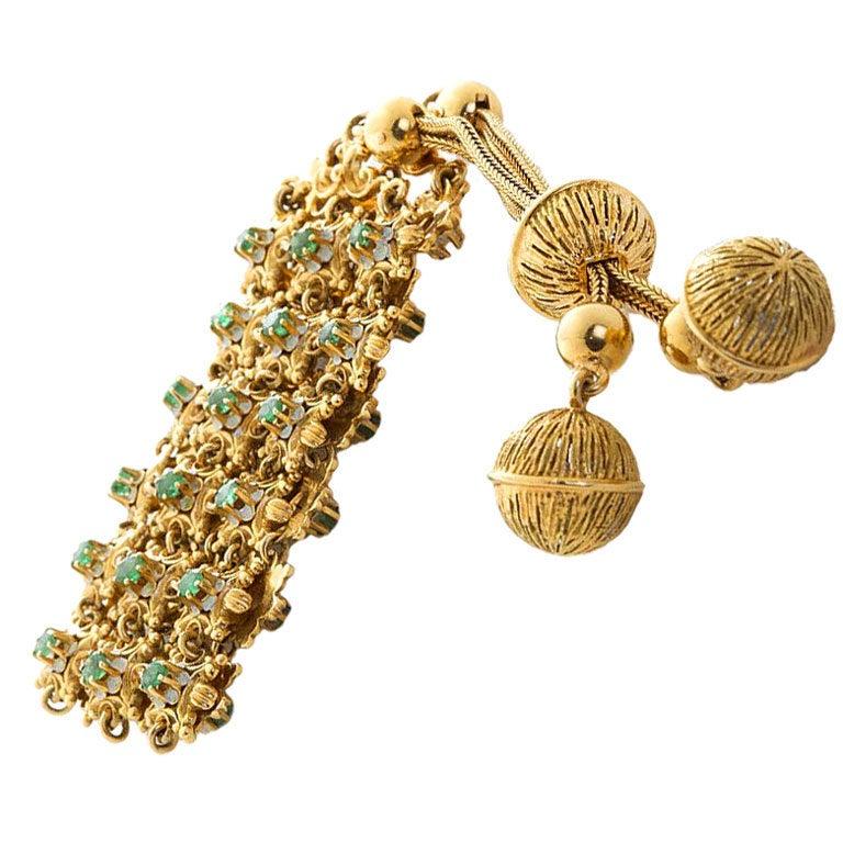 Emerald Gold Tassel Bracelet