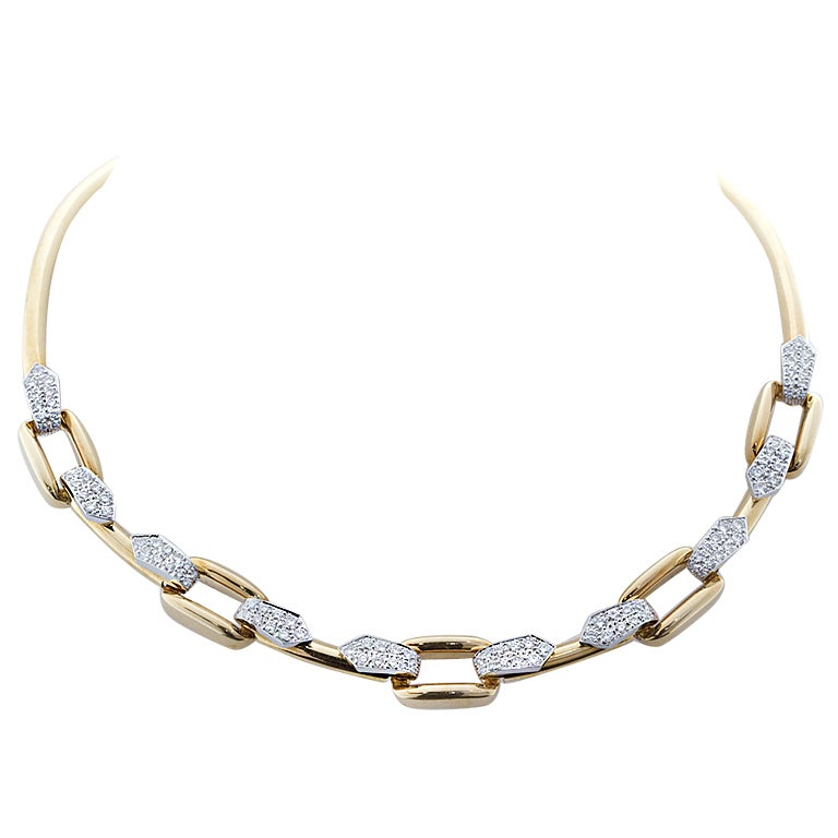 David Webb Diamond Gold Necklace For Sale