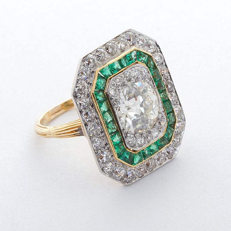 excellent deco and emerald ring at 1stdibs