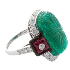 Superb  Large Carved Emerald Diamond Ruby Ring