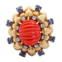 CARTIER Carved Coral Gold Ring