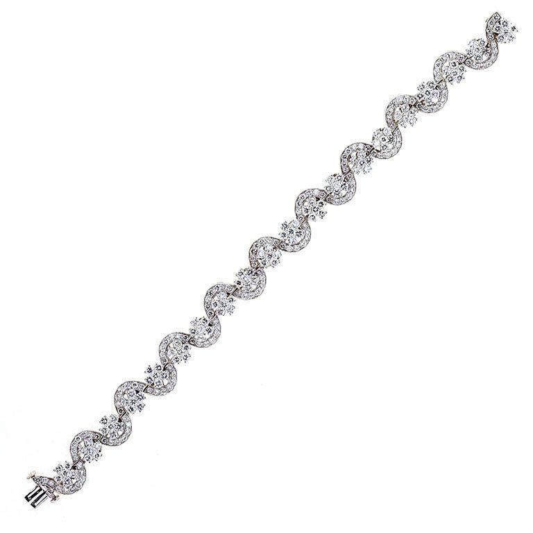Oscar Heyman Diamond Platinum Serpentine Bracelet 10 Carat