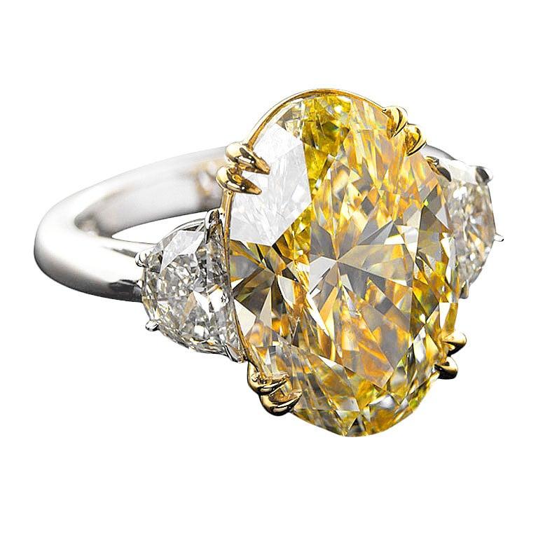 Ten Carat Fancy Yellow Oval Diamond Ring At 1stdibs