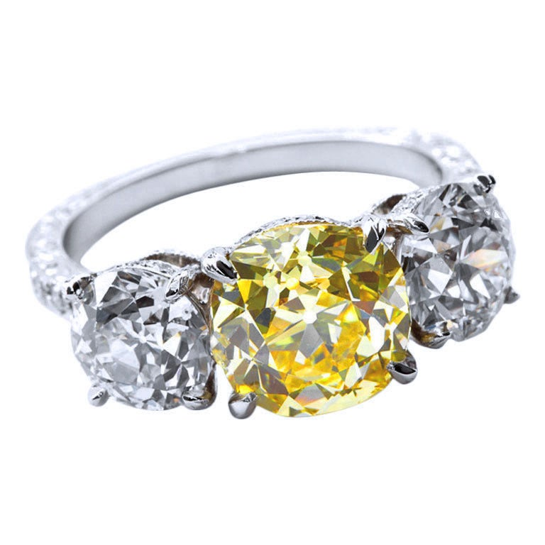 2.72 Carat Old Mine Fancy Yellow Three-Stone Diamond Ring GIA Certified For Sale