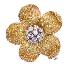 Canary Yellow Diamond Five Petal Flower Brooch 13.50 Carats