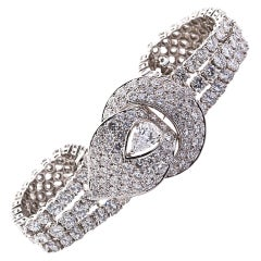 M. Gerard .80 Carat Pear Shaped Diamond Gold Buckle Bracelet