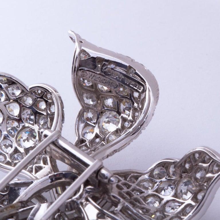 DAVID WEBB Diamond Platinum Long Stem Flower Brooch 3