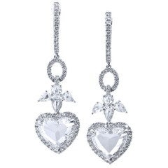 Angels and Hearts Diamond White Gold Dangle Earrings