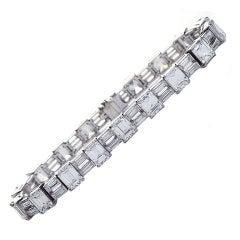 Emerald Cut Diamond Platinum Tennis Bracelet