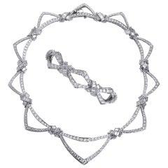 French Diamond Drape Style Necklace & Bracelet Suite