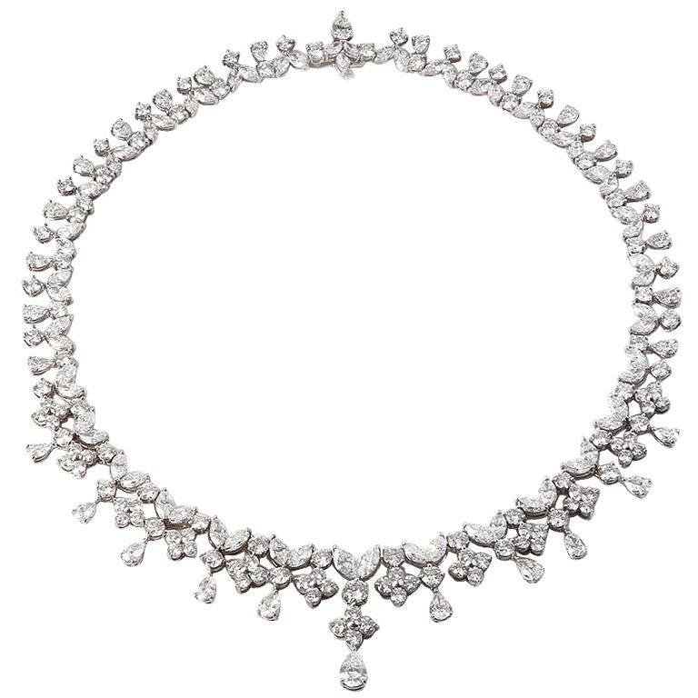 Fancy Shapes 50 Carat Diamond Platinum Necklace 1