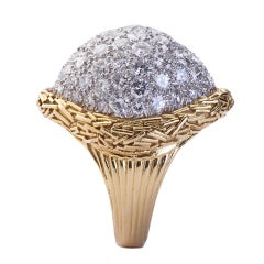 Retro D-F Color Diamond Dome Bombé Ring 14 Carat