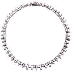 Diamond Platinum Square Cut Diamond Necklace
