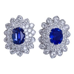David Webb Diamond Sapphire Earclips 22.15 Carat Total