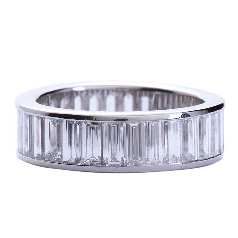 Diamond Baguette Channel Set Eternity Band At 1stdibs
