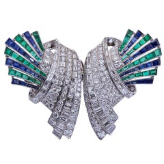 Art Deco Diamond, Emerald, Sapphire Brooch or Pendant