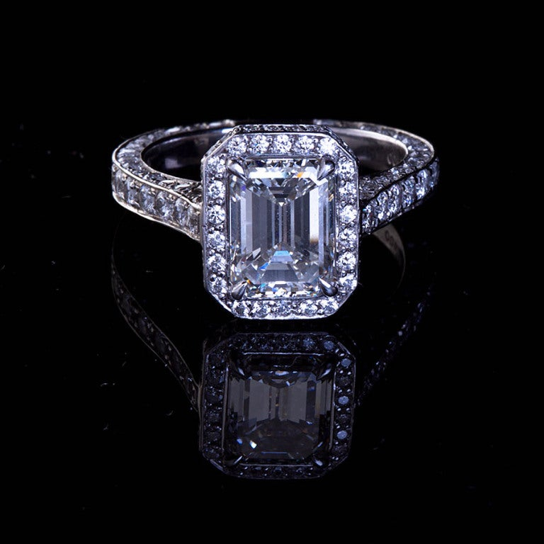 two carat emerald cut and platinum engagement ring
