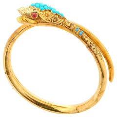 Turquoise Gold Snake Bangle