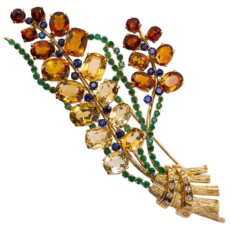 Lacloche Freres Paris Colored Stone Bouquet Brooch