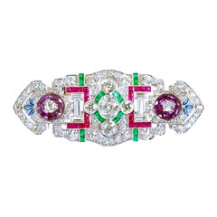 Art Deco Diamond and Multi-Gem Brooch