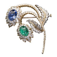 David Webb Emerald Sapphire Diamond Flower Spray Brooch 15 Carat