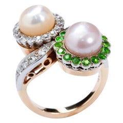Vintage Demantoid Diamond and Twin Natural Pearl Ring