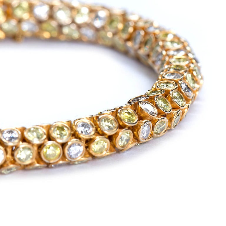 Yellow and White Diamond Rope Bracelet 4