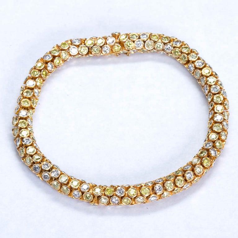 Yellow and White Diamond Rope Bracelet 5