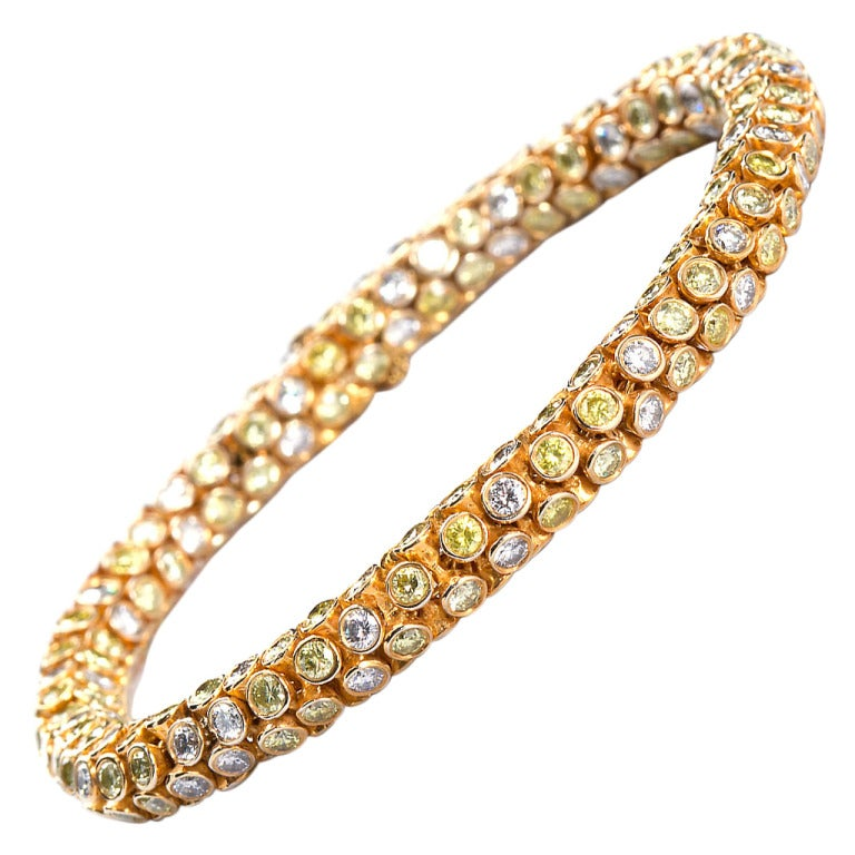 Yellow and White Diamond Rope Bracelet 1