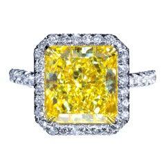 6 Carat Radiant Fancy Yellow Diamond Engagement Ring
